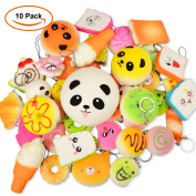 Time4Deals 10pcs Mini Squishy Bread Pack, Soft Jumbo Stress Relief Squishies Simulated Food Slowing Rising Toy Chain Strap for key/Phone Decoration