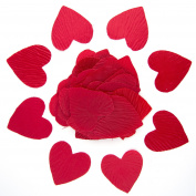 Red or Burgundy Heart Shaped Silk Petals