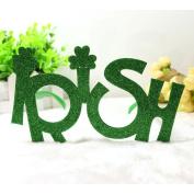 "LUOEM St.Patrick's Day Glasses Shamrock Glass Glitter ""Irish"" Party Novelty Glasses Holiday Glasses for Festival Holiday Party Decoration"
