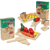 Large Set Wooden Cut Fruit & Veg Bread Pretend Kitchen Play Food Cutting Toy