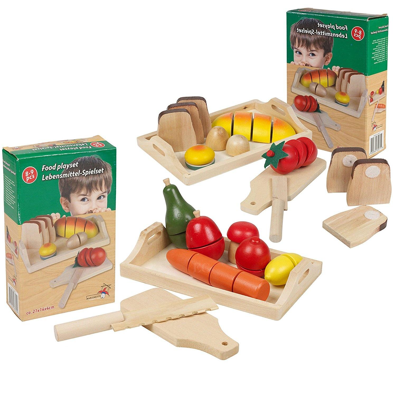 Superb Large Set Wooden Cut Fruit Veg Bread Pretend Kitchen Play Food Cutting Toy Home Interior And Landscaping Ymoonbapapsignezvosmurscom
