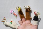 Tumi 5 animal finger puppets llama, pig, rabbit and monkeys, hand knitted Peru fair trade