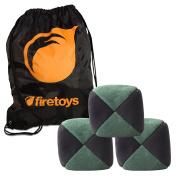 Juggling Ball Set - 3x Green/Black Mole Skin Juggling Balls & Firetoys Bag