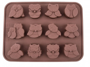WorldBestShop Silicone Owl 12 Hole Cake / Soap / Cookie / Chocolate High Quality Mould - UK