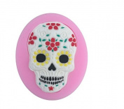 Skull decorated with flowers mini Silicone Sugarcraft, Fondant, Fimo Mould