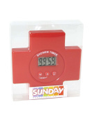 Waterproof Wall Suction Home Clock Sunday Shower Timer & Sucker Clock Red