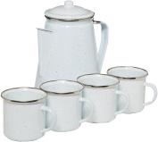STANSPORT 11230-03 Enamel Percolator Coffee Pot & 4 Mug Set