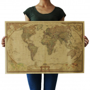 RainBabe Art Painting Vintage World Map Artwork Pictures for Home Wall Decor
