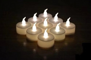 12 x Warm White LED TEA LIGHT CANDLES TEALIGHT TEA LIGHTS WITH FREE BATTERIES