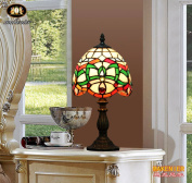 Makenier Vintage Tiffany Style Stained Glass Bedroom Bedside Corner Table Desk Green Stripe Small Lamp, 18cm Lampshade