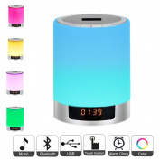 Night Lights Bluetooth Speaker,Bedside Lamp Touch Control Alarm Clock Colour LED Colour Changing Wireless Speaker with Lights USB AUX MP3 Music Player for Kids,Party,Bedroom,Outdoor