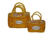 Basket Flowers Yellow S/3