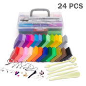 24 Colours Polymer Clay Oven Bake DIY Nontoxic Moulding Craft Tools Set