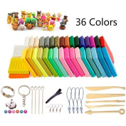 Polymer Clay, 36 Colours Oven Bake DIY Safe and Nontoxic Colourful Soft Moulding Craft Set, with 14 Sculpture Tool Accessories and Tutorials, Best Gift for kids