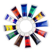 Acrylic Paint Set - 12 Tubes Assorted Colours Acrylic Graft Paint for Paper,Canvas,Wood,Ceramic,Clay,Fabric,Crafts and Nail Art - Non toxic & Vibrant Colours
