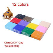 Polymer Clay, CiaraQ 12 Colours Oven Bake DIY Colourful Clay Safe and Nontoxic Soft Moulding Craft Set, Best Brithday Christmas Gift for Children