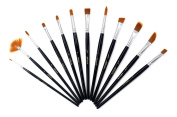 BeautyBouse 12Pcs Artist Paint Brush Set Acrylic Nylon Watercolour Oil Painting Supplies