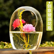 YUYUAN European creative pastoral landscape pot of egg-shaped transparent glass-stylish home accessories , 15*11.8