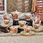 YUYUAN High-grade ceramic Kit 15 coffee tea kungfu Tea Cup set wedding gift