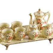 YUYUAN European-style luxury pottery 8 rose ivory ceramic coffee set living room furniture , 8 roses