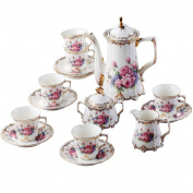 YUYUAN Idyllic little coffee set fresh roses birthday wedding tea set , 08 flowers and 15 heads