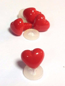Pack of 4 - Bright Red Heart Noses 18*mm x 15mm Plastic Backs - Teddy Bear & Soft Toy Making Character Noses