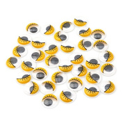 ODN 100PCS Plastic Safety Wiggle Eyes Googly Eyes With Eyelashes for Arts Crafts Making Yellow 15mm