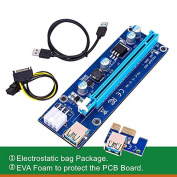 Aiken PCI-E Riser, 6 Pin PCI-E 1x to 16x Powered Riser Adapter Card w/ 60cm USB 3.0 Extension Cable & 6 Pin PCI-E to SATA Power Cable - GPU Riser Adapter - Ethereum Mining ETH+MintCell 6 Cable Ties