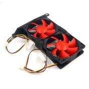 Glvanc, Laptop Cooling Fan, Dual Fan Mount Rack PCI Slot Bracket for Video Card +2 80MM Quiet PC Case Red Fan