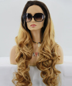 ATAYOU® Long Curly Lace Front Wigs - Fashionable Dark Roots to Blonde Ombre Synthetic Wigs, High Qaulity Heat Resistant Wigs With 1 Free Cap