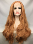 Cupidlovehair Long Curly Orange Pink Blonde Mixed Colour Synthetic Lace Front Wig For Women 60cm