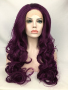 Cupidlovehair Long Big Curly Beautiful Purple Colour Synthetic Lace Front Wigs 70cm