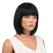 MagiDeal 30cm Fashion Women Bob Short Straight Synthetic Hair Wigs With Cap Black