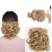 Short Messy Curly Hair Bun Piece Up Do Drawstring Ponytail Hair Extensions Chignon Comb Clip Scrunchy Scrunchie Coffee brown mix Bleach blonde