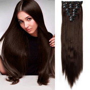 60cm Clip in Hair Extensions Straight Hairpiece 8 Piece 18Clips Soft Natural Look for Women Beauty, Medium Brown