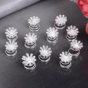 Yantu 12pcs Clear Crystal Flower Swirl Hair Twists Coils Spirals Beads Hair Pin Clip Accessories