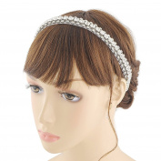 THK-Wedding Hairpiece Wedding Headband Rhinestones Bridal Hairpiece Headband Wedding Headwear With Ribbon Off-white