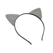 GIZZY® Girls Black and Crystal Cats Ears on Head band.