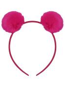 M & Co Girls Pink Furry Pom Pom Ear Hairband