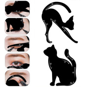 2Pcs Cat Eyeliner Stencil,Beauty Top Eyeshadow Guide Brushes And Cat Shaping Eye Liner Stencil Smokey Cat Quick Eye Makeup Tool Set Cat Eyeliner Stencil Matte Pvc Material Repeatable Use Smokey Eye Stencil Models Template Shaper Tool Professional Multi ..