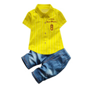 CHshe Baby Clothing Set, JIACHAO 2Pcs Newborn Toddler Boys Summer With 20cm Tee Top+Pocket Denim Pant Outfit For 1-3 Years
