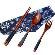GreatFun 3Pcs Japanese Vintage Wooden Chopsticks Spoon Fork Tableware Set Gift for Friend