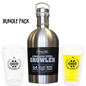 "FineLife Classic Stainless Steel 1890ml / 1.9L Growler & Hatchet Construction ""Hammered"" Beer Mug Bundle Gift Set"