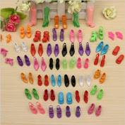 CHENGYIDA 40 Pairs Different Shoes Boots for Decor Doll Toy Girls Play House Party Xmas Gift Colour Random