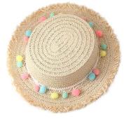 Cdet Children Hat Beige Summer Colourful Ball Sun Cap Straw Beach Hat Kid Cap Birthday Gift