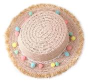 Cdet Children Hat Summer Colourful Ball Sun Cap Straw Beach Hat Kid Cap Birthday Gift Light Pink