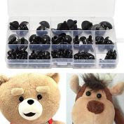 154pcs Teddy Bear Doll Safety Eyes Black Plastic 6-24mm + Washers