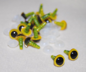 Pack of 10 Pairs - Yellow Eyes with Plastic Backs - 8mm - Safety Eyes for Soft Toy or Teddy Bear Making