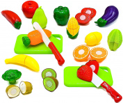 Little Treasures Healthy Fruit and Vegetables Toys Pretend Play Kitchen Food Educational Playset with Toy Knife, Cutting board