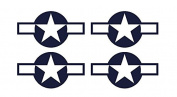 Set of 4 Remote Control (RC3) Blue White Stars and Bar 14cm RC Aeroplane Sticker Decal